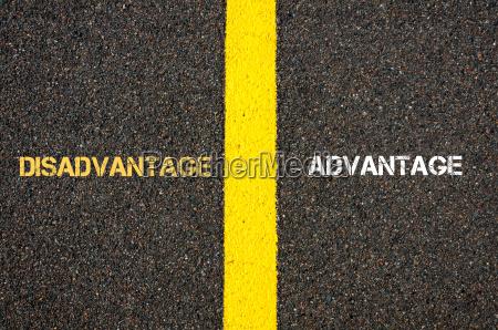 antonym concept of disadvantage versus advantage
