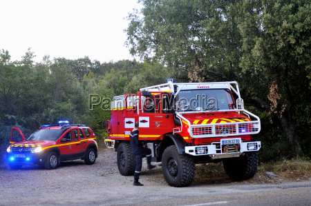 fire trucks at the entrance of