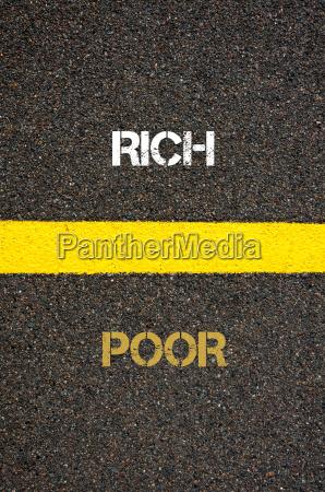 antonym concept of poor versus rich