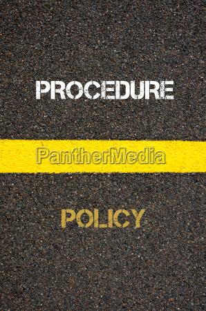 antonym concept of policy versus procedure
