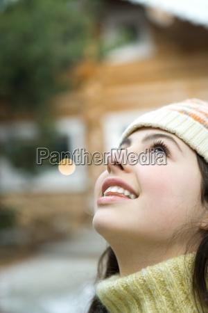 teenage girl looking up close up