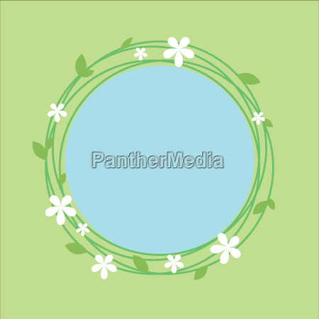 spring theme circlular frame with floral