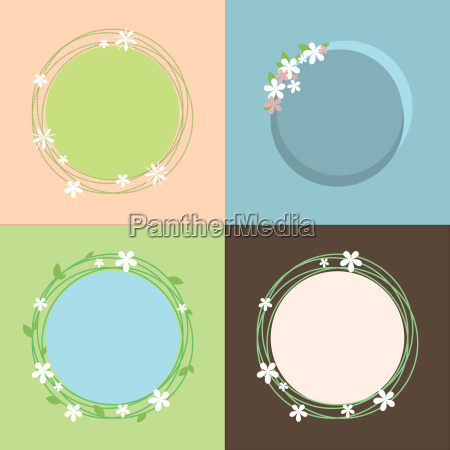 spring theme colorful set of frames