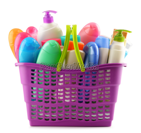 shopping basket with body care and