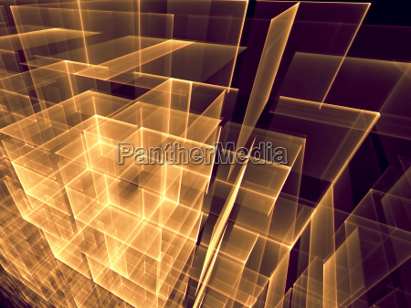 abstract computer generated image glowing cubes