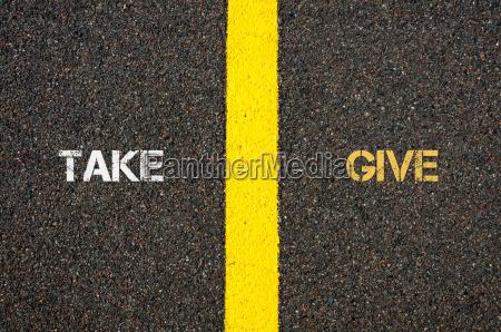 antonym concept of take versus give