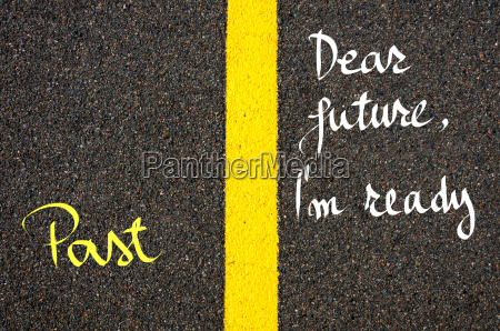 concept image with road marking yellow
