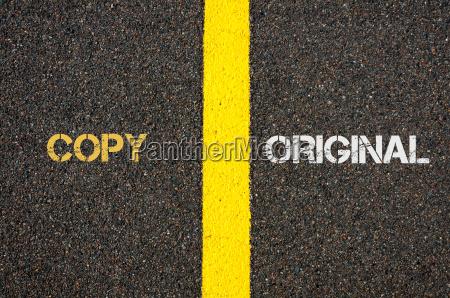 antonym concept of copy versus original