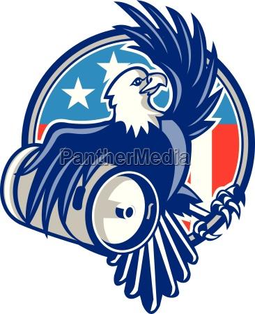 american bald eagle beer keg flag