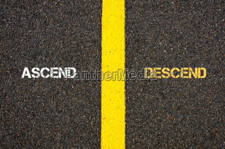 antonym concept of ascend versus descend