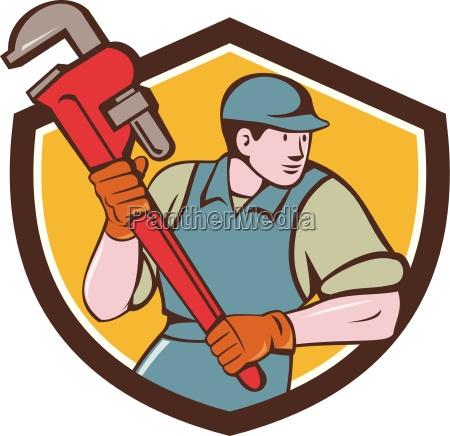 plumber running monkey wrench crest cartoon