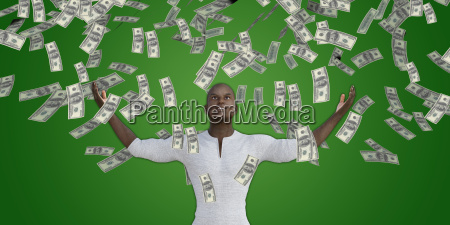 black man catching money falling from