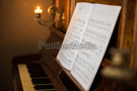 old piano with notes