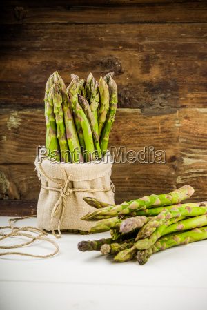 fresh green asparagus in the bunch