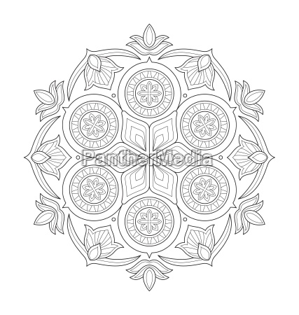 mandala illustration for adult coloring