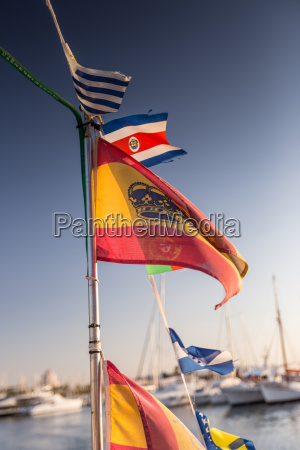 some national flags fluttering on the