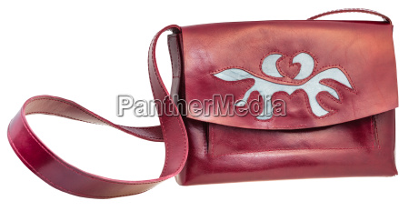 front view of cherry color handbag