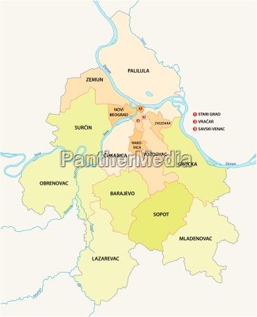belgrade neighbourhoods and suburbs map