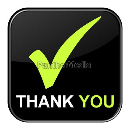 black button shows thank you