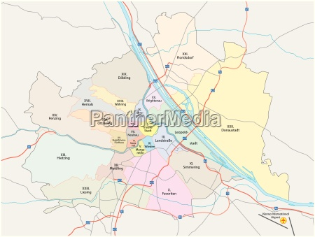 vienna city road and administrative map