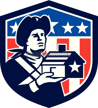 american patriot holding house flag crest