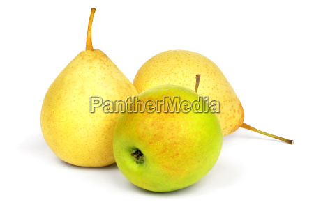 yellow pears and green apple