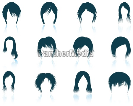 set of womans hairstyles icons