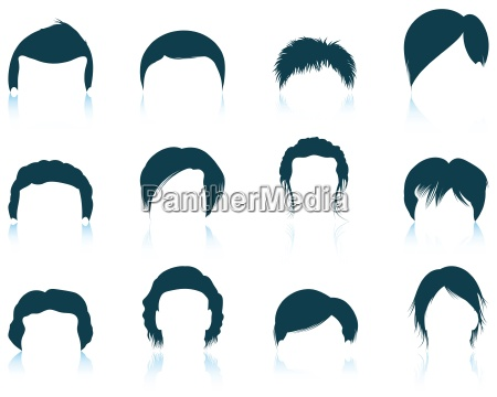set of mans hairstyles icons