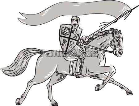 knight riding horse shield lance flag