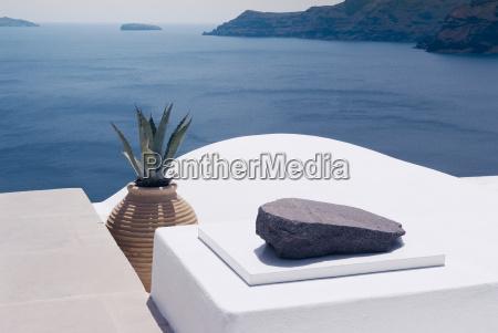 white architecture on santorini island greece