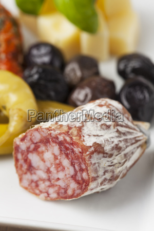 closeup of an italian salami