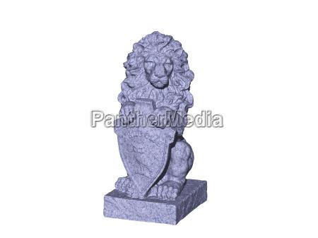 lion as heraldic animal with shield