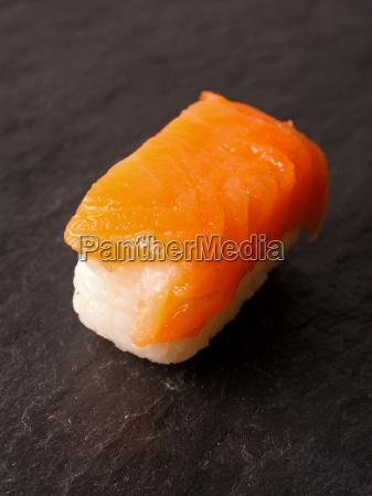 sushi nigiri with raw salmon
