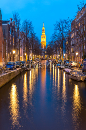 south church zuiderkerk amsterdam at dusk