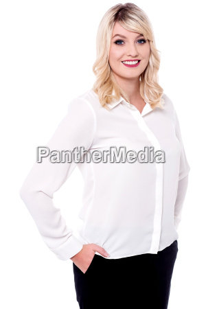 charismatic young smiling business lady