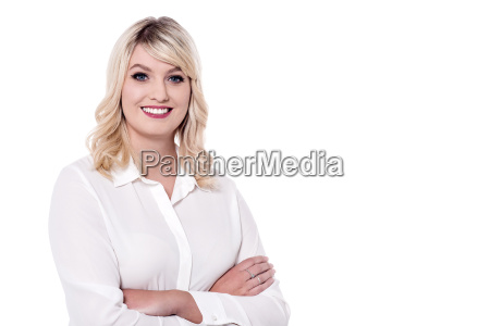 charismatic business woman with folded