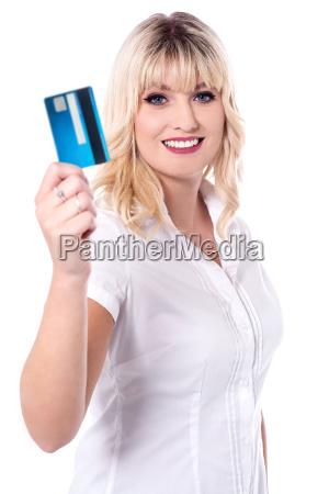 shopper woman holding debit card