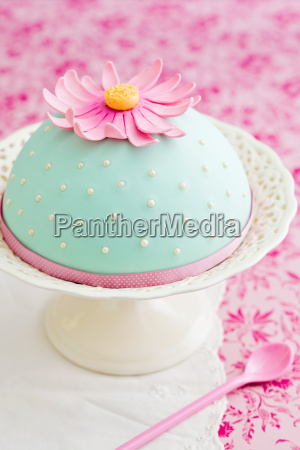 decorated cake with flower