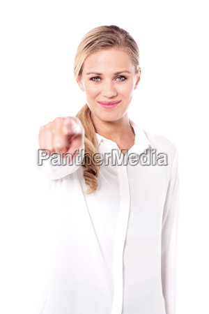charismatic woman pointing you out