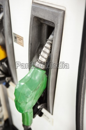 nozzle in place on gas pump