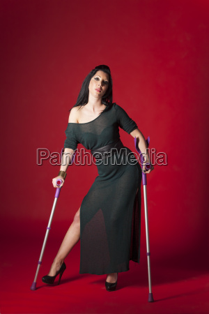 woman in an evening dress on