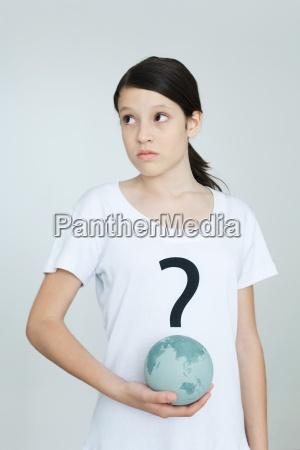 girl wearing tee shirt printed with