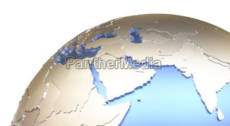 middle east on metallic earth