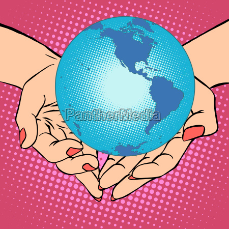 planet earth in hands america