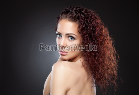 beautiful woman with red curly