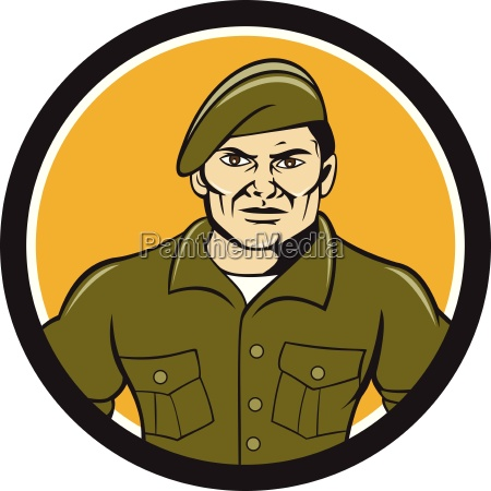 ranger standing attention circle cartoon