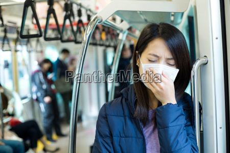 passenger feeling unwell with face mask