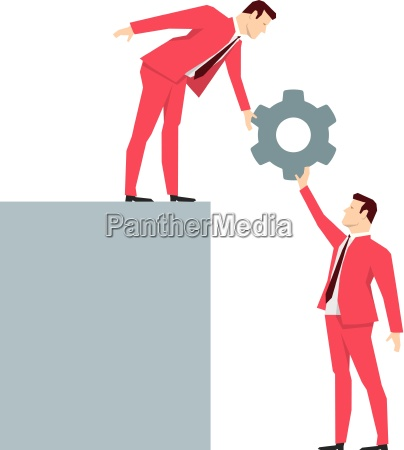 red suit businessman teamwork vector concept