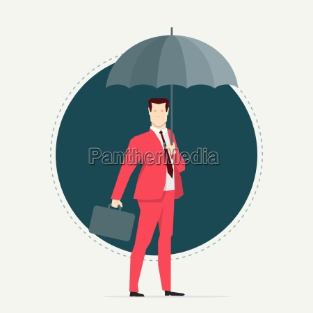 businessman in red suit umbrella flat