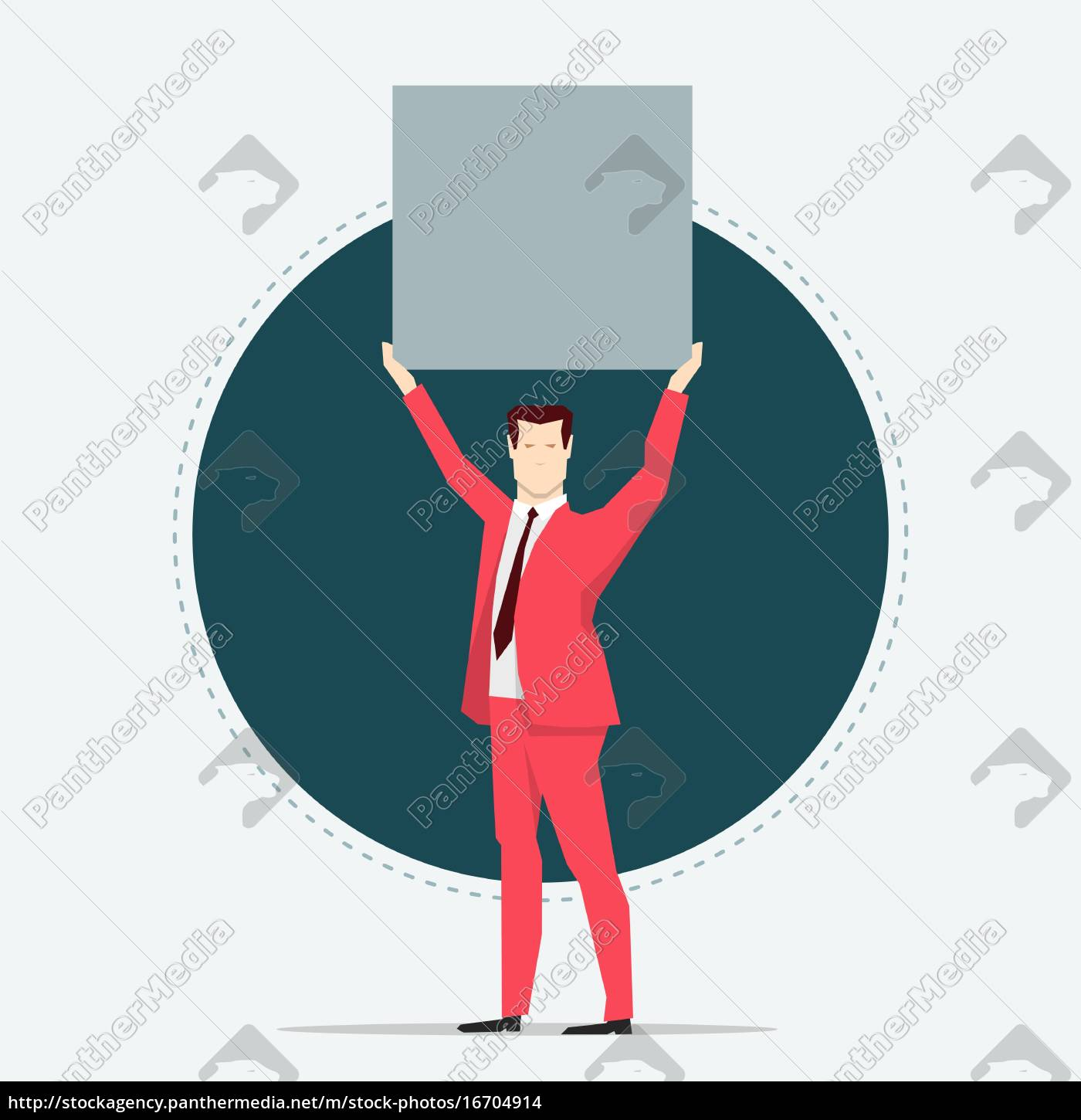 businessman, in, red, suit., holding, a - 16704914